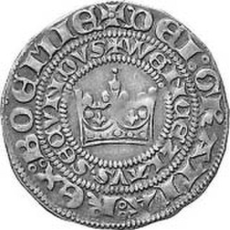 Prague groschen - Groschen of Venceslas II., obverse