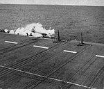 Grumman AF-2W Guardian of VS-25 crashes off USS Bairoko (CVE-115), circa in 1952.jpg