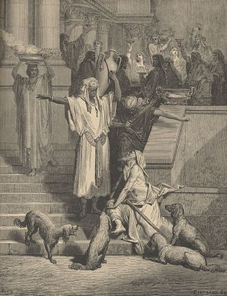 Rich man and Lazarus - Illustration by Gustave Doré of the Rich man and Lazarus.