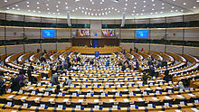 European parliament hemicycle in Brussels, Belgium