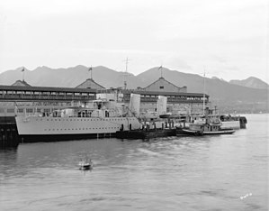 HMCS Skeena (D59) - Skeena alongside the CPR's Vancouver pier C in 1934