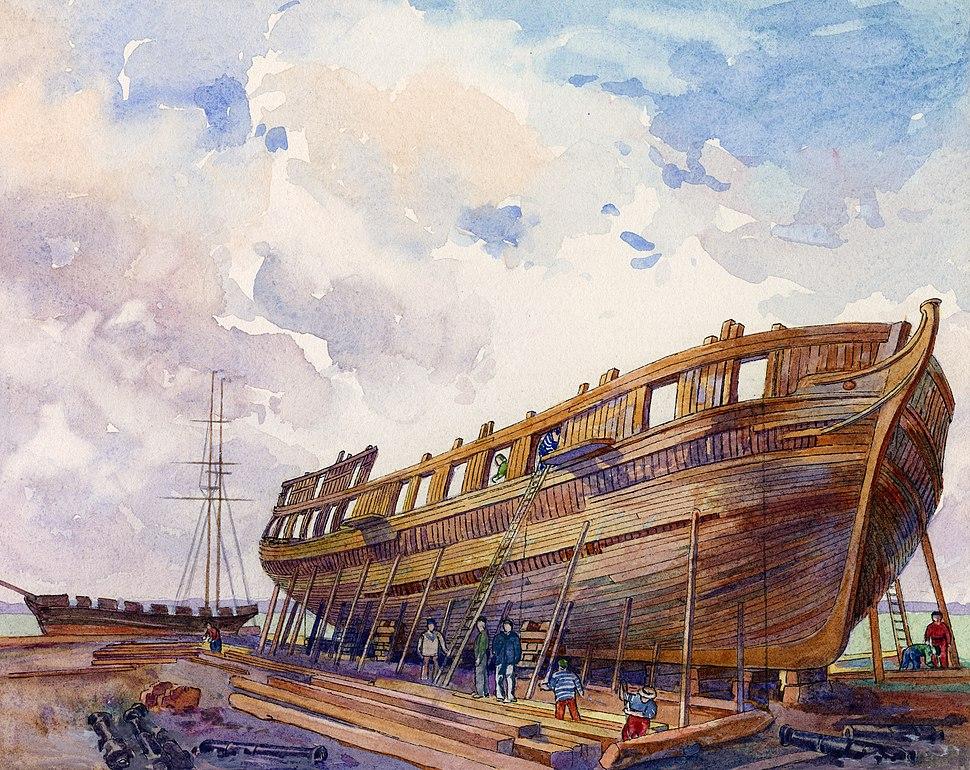 "H. M. Sloop of War ""Sir Isaac Brock"", on the stocks (April, 1813)"