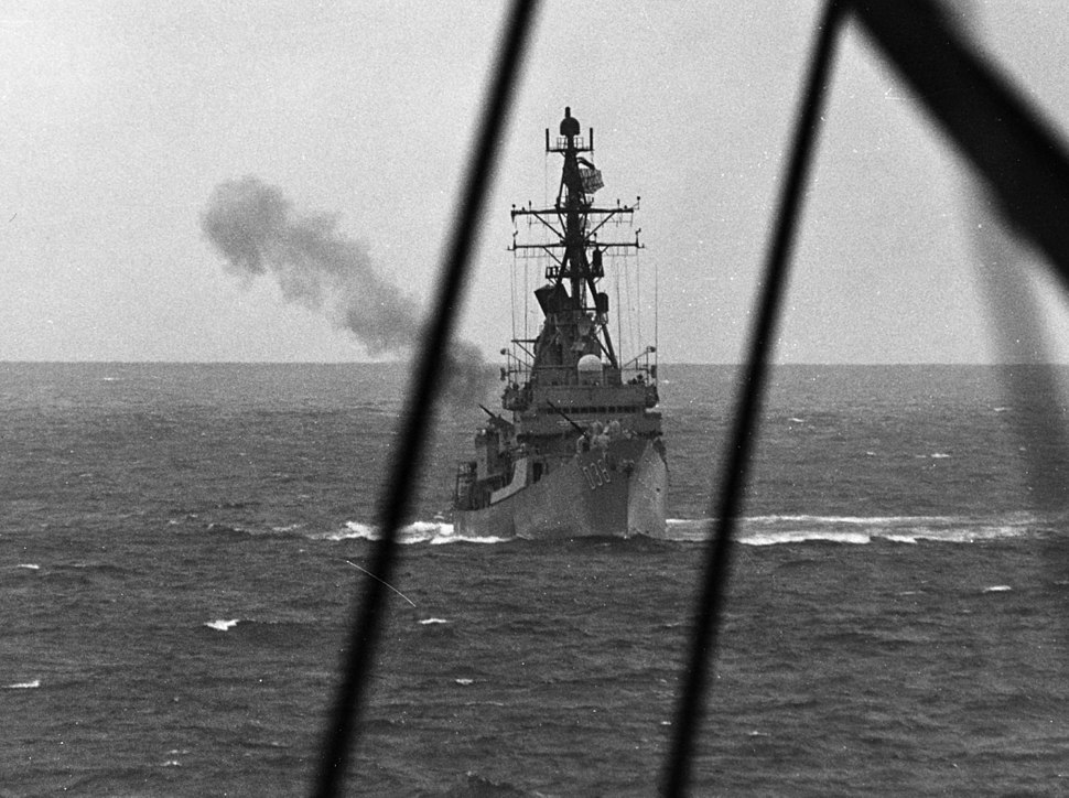 HMAS Perth (D 38) fires on North Vietnamese coastal defense sites in February 1968