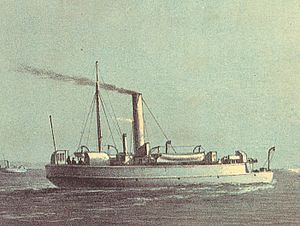 Flat-iron gunboat - A painting of Comet, an ''Ant''-class flat-iron gunboat, by William Frederick Mitchell