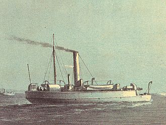 Flat-iron gunboat - A painting of Comet, an Ant-class flat-iron gunboat, by William Frederick Mitchell