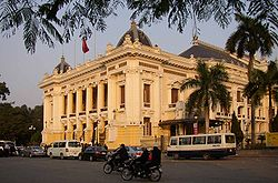 The Hanoi Opera House is an example of French Colonial architecture in Vietnam.