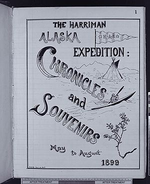 Harriman Alaska expedition - Title page of a private souvenir album created collectively by the members of the Harriman Alaska Expedition.