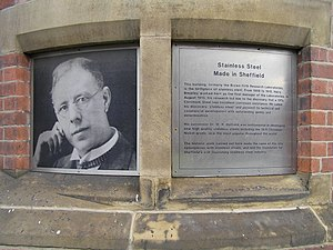 Monument to Harry Brearley at the former Brown...