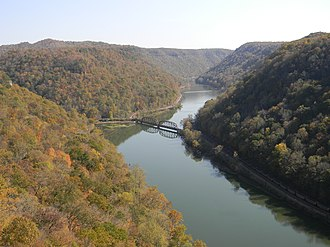 New River (Kanawha River tributary) - The New River within the New River Gorge as viewed from Hawks Nest State Park in West Virginia