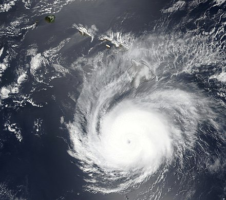 Hector at its closest approach to Hawaii late on August 8 Hector 2018-08-08 2330Z.jpg