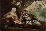 Heinrich VIII mit einer seiner Frauen auf Brautfahrt vor Schloss Windsor..jpg
