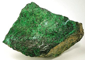 Heazlewoodite - Zaratite (emerald-green coating), hellyerite (powder-blue) and heazlewoodite (light bronze)