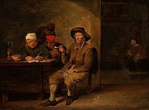 History of smoking - Smokers in an Inn by Mattheus van Hellemont (1650s)