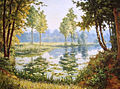 Henri Biva, Still Waters lily pond landscape trees, print.jpg