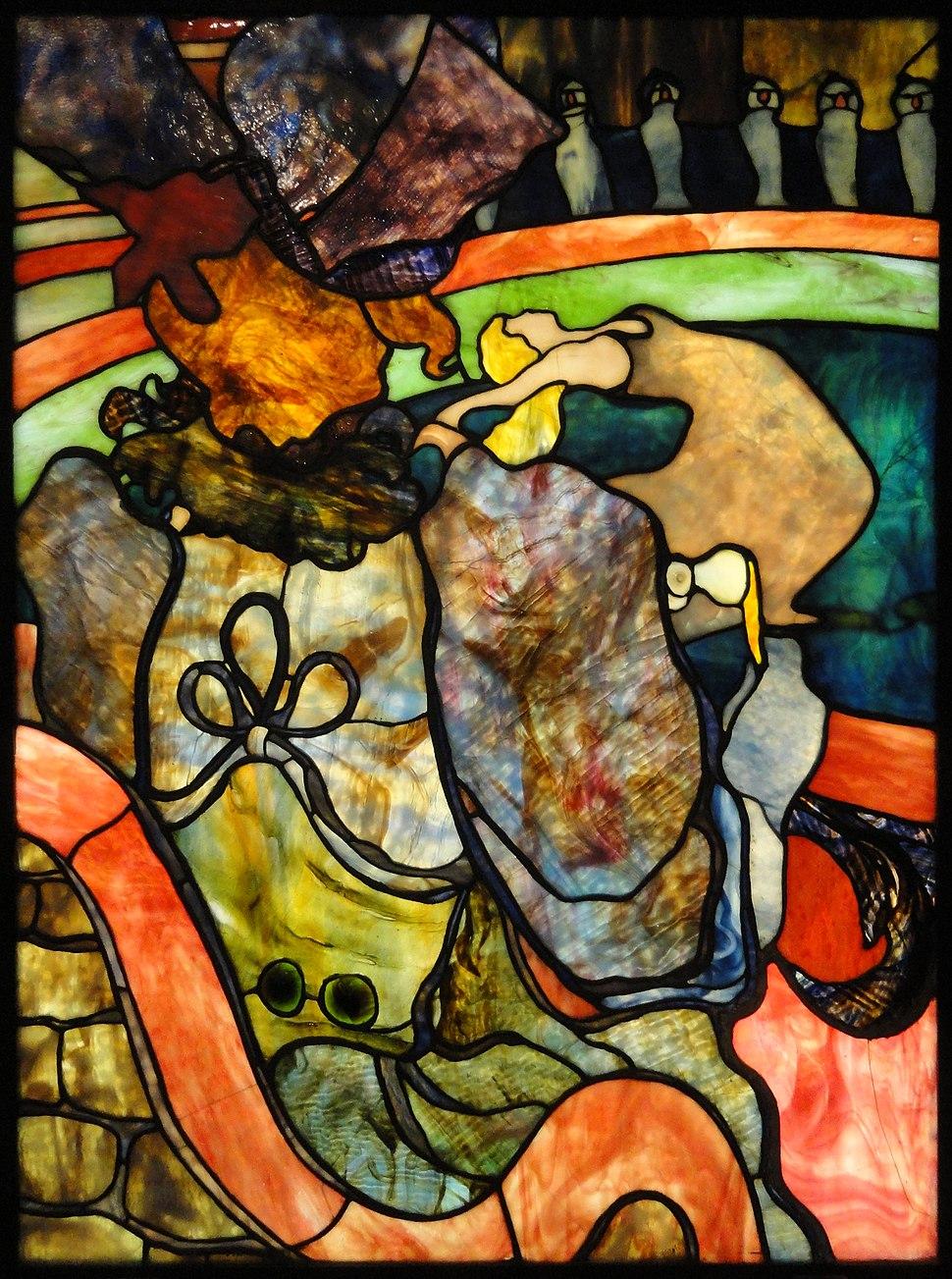 Henri de Toulouse-Lautrec, Louis Comfort Tiffany, Au Nouveau Cirque, Papa Chrysanth%C3%A8me, c.1894, stained glass, 120 x 85 cm, Mus%C3%A9e d%27Orsay, Paris