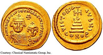 Bonus (patrician) - Gold solidus of Emperor Heraclius (r. 610–641). Bonus was one of his closest and most trusted aides, and served as effective regent of the Byzantine Empire during Heraclius's absences on campaign after 622 and until his death.