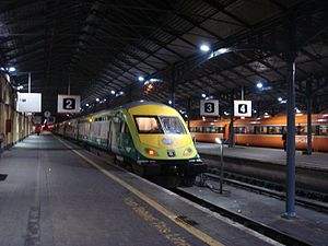 Rail transport in Ireland - Mark 4 InterCity at Dublin Heuston station with Mark 3 carriages in the background