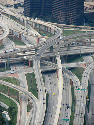 High Five Interchange - High Five Interchange: US 75 on the bottom level; the two frontage roads on the second; I-635 on the third; direct connection ramps on the two top levels