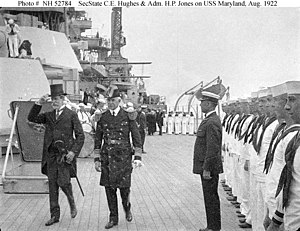 USS Maryland (BB-46) - Secretary of State Charles Evans Hughes (at left) and Admiral Hilary P. Jones, Commander in Chief, U.S. Atlantic Fleet on board Maryland in August 1922, during her cruise to Rio de Janeiro to participate in the Brazilian Centennial Exposition