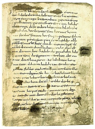 Hildebrandslied - The first page of the Hildebrandslied manuscript.