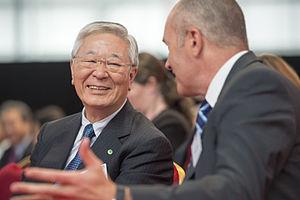 Hiroaki Nakanishi - Hitachi CEO Hiroaki Nakanishi with Hitachi Rail Global CEO Alistair Dormer at Newton Aycliffe opening ceremony