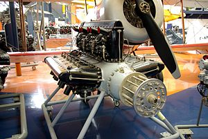 Hispano-Suiza 18R - Hispano-Suiza 18Sbr W-18 engine on display in the Musée de l'Air et de l'Espace in Le Bourget, France.