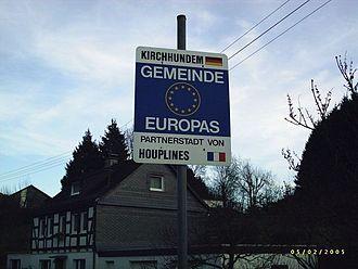 Kirchhundem - Sign announcing the partnership
