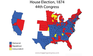 United States House of Representatives elections, 1874 - Map of U.S. House elections results from 1874 elections for 44th Congress