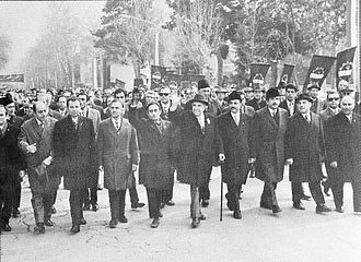 White Revolution - Prime Minister Amir Abbas Hoveida and his cabinet in anniversary of the reforms, 1974.