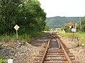 Hroznětín; kusá kolej je bývalá vlečka do masokombinátu; 25.7.2006; Former track to closed Meat Factory.jpg