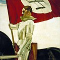 Hubert Lanzinger Der Bannerträger (The Standard bearer) Oil on plywood ca 1934-36 Adolf Hitler as knight Denazified hole in Hitler's face scrathes US Army Center of Military History USHMM No known copyright restrictions 2450324-2396x2.jpg