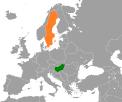 Map indicating locations of Hungary and Sweden
