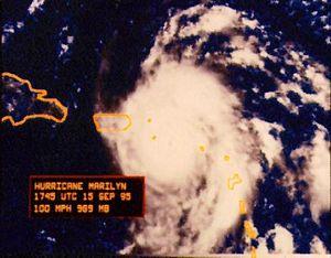 Hurricane Marilyn - Hurricane Marilyn on crossing the Virgin Islands on September 15, 1995.