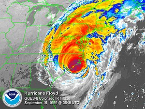Hurricane Floyd - Hurricane Floyd making landfall in Cape Fear, North Carolina, on September 16.