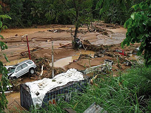Hurricane Tomas - Flood damage along the Cul de Sac River in Saint Lucia