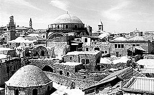 Judah HeHasid (Jerusalem) - The dome of Hurva Synagogue rises above the Jewish Quarter of Jerusalem's Old City. Pre-1948 photo.