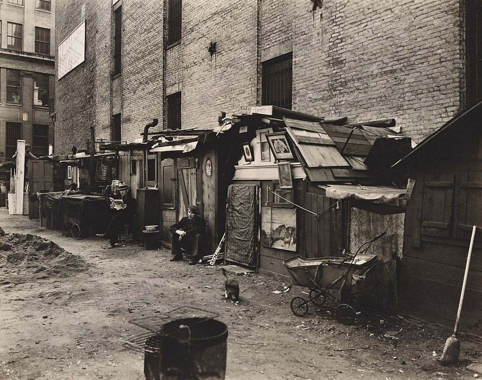 Huts and unemployed, West Houston and Mercer St., Manhattan (NYPL b13668355-482853)