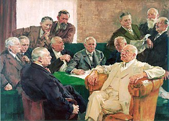 "IG Farben - The IG Farben supervisory board, commonly known as the ""Council of Gods"", in 1926, with Arthur von Weinberg, Carl Müller, Edmund ter Meer, Adolf Haeuser, Franz Oppenheim, Theodor Plieninger, Ernst von Simson, Carl Bosch, Walther vom Rath, Wilhelm Kalle, Carl von Weinberg and Carl Duisberg"