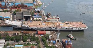 Vikrant-class aircraft carrier - Image: INS Vikrant being undocked at the Cochin Shipyard Limited in 2015 (07)