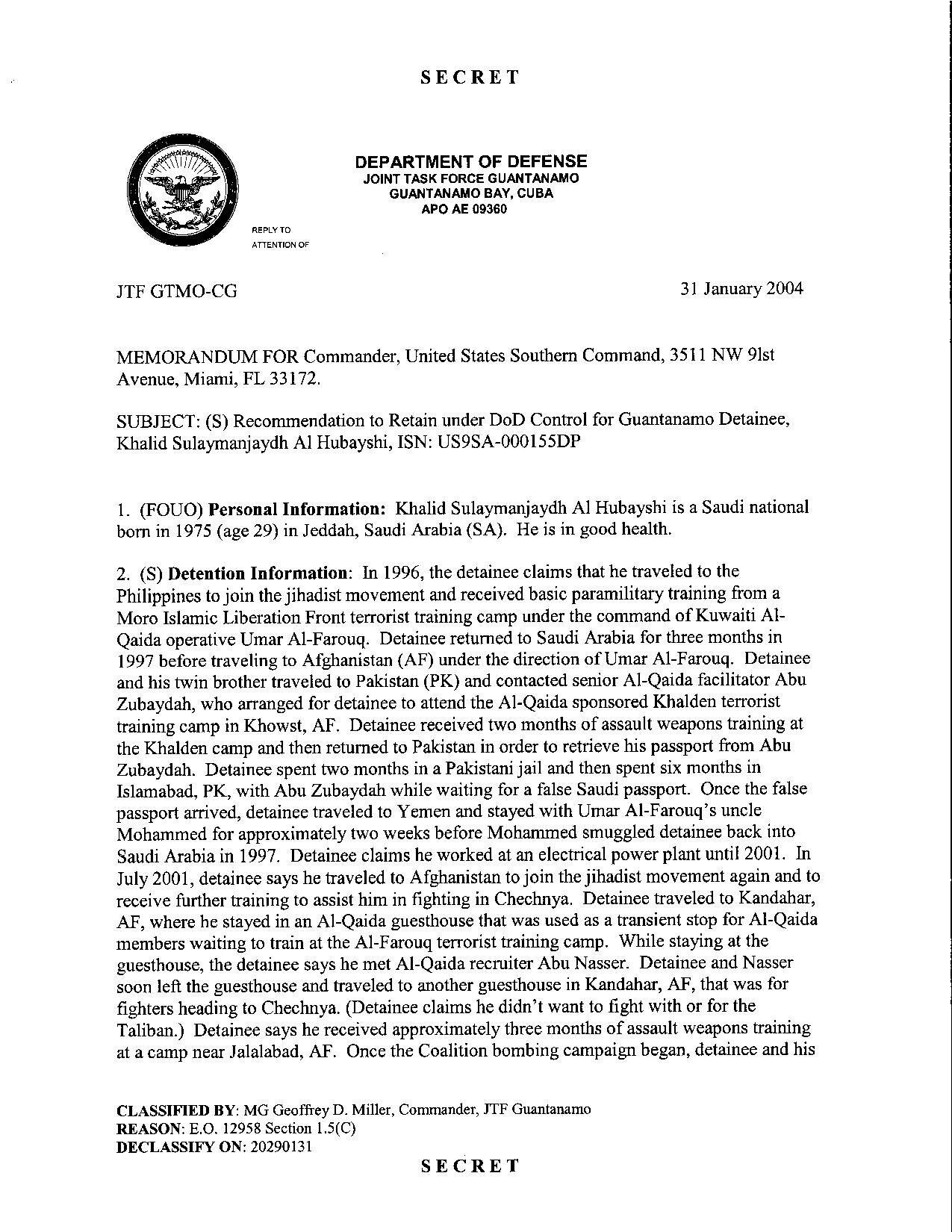 ISN 00155, Khalid Sulaymanjaydh Al Hubayshi's Guantanamo detainee assessment.pdf