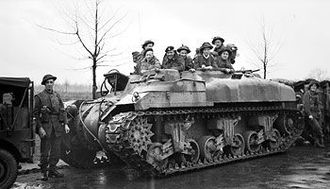 49th Royal Tank Regiment - Infantry of the 53rd (Welsh) Division in a Ram Kangaroo on the outskirts of Ochtrup, Germany, 3 April 1945