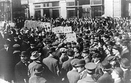 Una manifestación de la IWW enNueva York, 1914.
