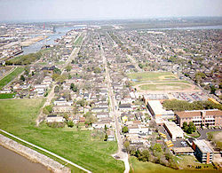 Aerial view of part of the Lower 9th, c. 1990s. Holy Cross School at lower right.