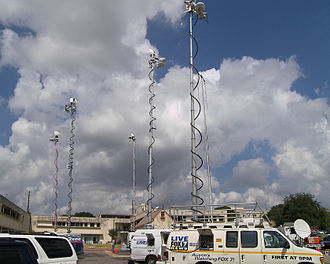 Effects of Hurricane Ike in Texas - News vans at the Texas Department of Public Safety in Austin for a news conference about Hurricane Ike. The state's emergency operation center is located in the DPS building.