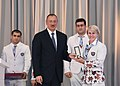 Ilham Aliyev met with athletes who competed in 31st Summer Olympic Games (Ilham Aliyev and Inna Osypenko-Radomska).jpg