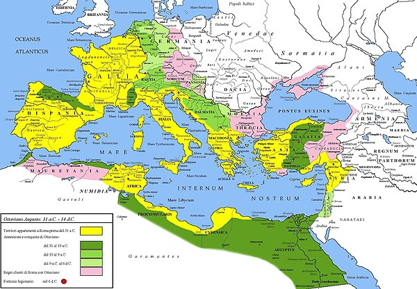 Extent of the Roman Empire under Augustus. The yellow legend represents the extent of the Republic in 31 BC, the shades of green represent gradually conquered territories under the reign of Augustus, and pink areas on the map represent client states; areas under Roman control shown here were subject to change even during Augustus' reign, especially in Germania. Impero romano sotto Ottaviano Augusto 30aC - 6dC.jpg