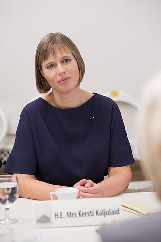 President of Estonia - Image: Ināra Mūrniece tiekas ar Igaunijas prezidenti (29833775594)
