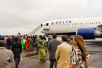 Roberts International Airport - Delta Air Lines inaugural flight to Monrovia (5 September 2010)