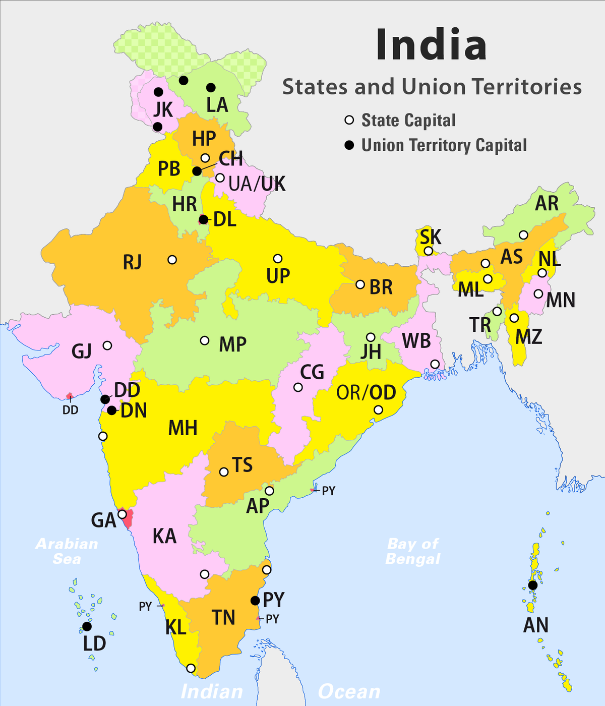 India States Map 2016.States And Territories Of India Simple English Wikipedia The Free