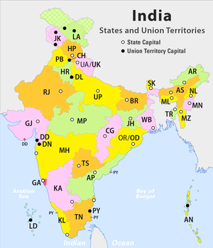 States and territories of India, including 28 states and 7 union territories.